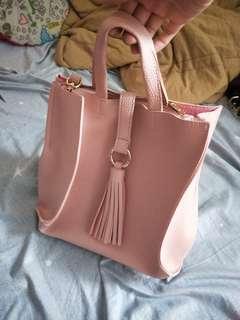 韓國帶回,粉色全新兩用包