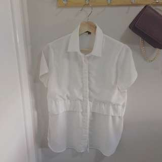 *SALE* TIRELLI White Button-up Top / Blouse Size: XS fits AU6-8