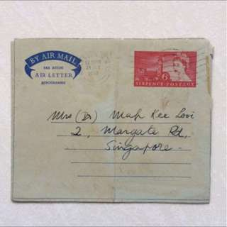 Vintage Old Air Letter - Queen Victoria Six Pence Postage dated 1958
