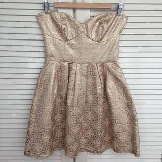 SUPRÉ Strapless Gold Dress