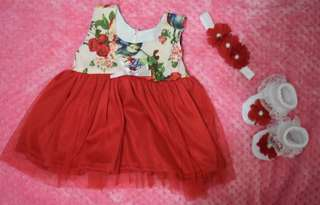 Red Baby Dress with socks and headband