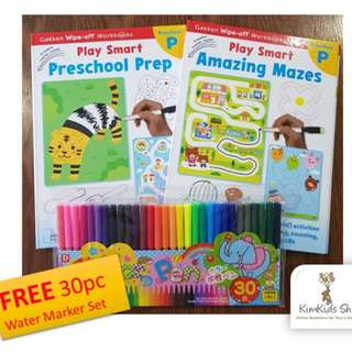 Gakken NEW Release : Play Smart (Set A) - Wipe clean Workbooks for Preschool