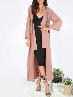 Dusty Pink Lapel Maxi Outerwear