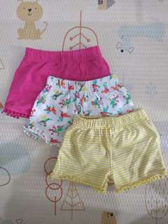 Preloved : Mothercare hummingbird shorts 3 pack size up to 3 month