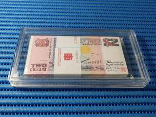 ZZ Singapore Ship Series $2 Note ZZ 942401 - 942500 Run Stack Prefix ZZ Dollar Banknote Currency ( 9 Head 9 Tail )