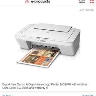 Canon Pixma MG2970 Wireless Multi-Function Inkjet printer