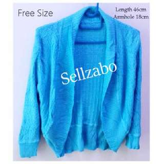 🆕Free Size Knitted Cardigan Blue Colour Sellzabo Long Sleeves Warmth #S125 Ladies Girls Women Female Lady
