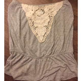 Grey strapless top (size extra small) from DYNAMITE USED ONCE