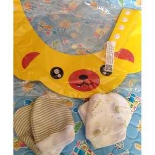 Sale! Baby boy / girl / newborn cute shower cap and mittens