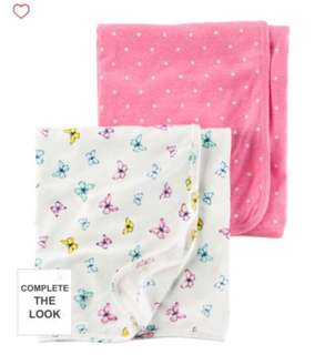 Brand New Carter's Babysoft Swaddle Blankets For Baby Girl.