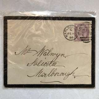 Stamp - Great Britain 1881 - Queen Victoria Inland Revenue on Envelope dated 1886 (Die II) (Rare)