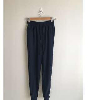 Monki High Waist Navy Blue Tapered Pants