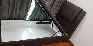 King Koil Single Storage Bed Frame Suede Fabric Dark Brown