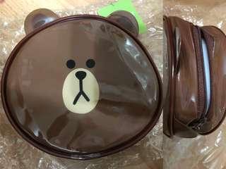 Line friends熊大頭形拉鍊袋