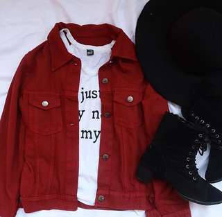 Maroon Basic Jacket Jeans