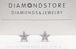 18K 白金小星星鑽石耳環