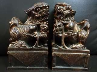 A Pair of Old Foo Dog Lions
