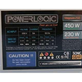 Power supply unit PSU for desktop pc 450W power logic sonic gear magnum 250 personal computer