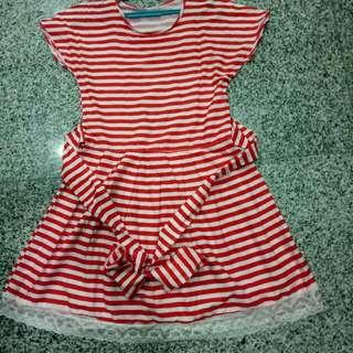 Sweet Red Nice Stripe Dress