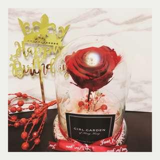 玫瑰花永生花不淍花保鮮花玻璃罩🌹