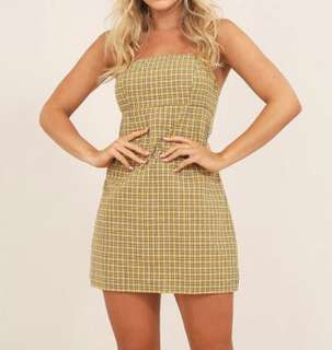 Yellow check Mini Dress