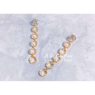 💎 EH03 - 金框水晶復古垂吊耳環 Vintage Golden-framed Crystal Hanging Earrings
