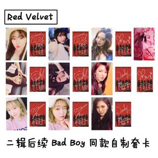 RED VELVET BAD BOY UNOFFICIAL PHOTOCARDS