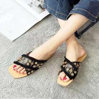 Minimei追加款✪6款🧡韓系百搭休閒一字拖鞋新款女涼拖外穿平底百搭蜜蜂鉚釘沙灘鞋