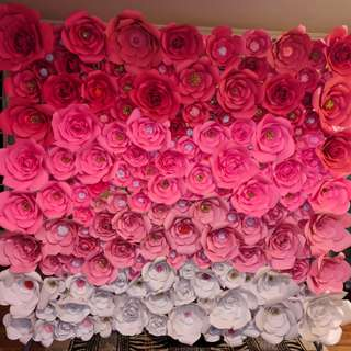 Elegant Paper Flower Wall / Backdrop. Rent or buy. Perfect decor for weddings, bridal showers, birthday parties or any special events.