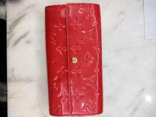 LV漆皮紅色皮夾-正品