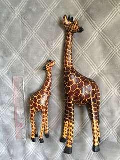 木雕 母子 長頸鹿 擺設 Giraffe