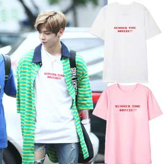 "Wanna One Kang Daniel ""Summer Time Breeze!!!"" cotton t-shirt, white colour, size L, unisex tshirt (READY STOCK)"