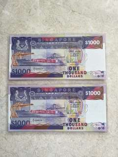 2 PCS SINGAPORE $1000 SHIP HTT A/8 229557-58 RUN UNC