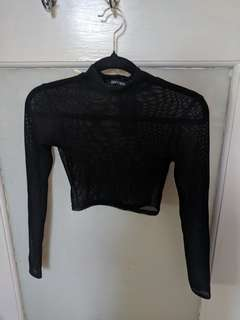 Cropped mesh turtle neck top