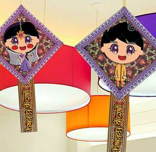 Boy And Girl   Indian wedding  Deepavali  HANGING ORNAMENT Can Be Pasted Onto Wall Too Original Designs By Local Artist Printed On Vanilla Hard Card For The Smooth Matte Feel  cm thereaboutS   Each Set Of 4  Pick up hougang buangkok mrt