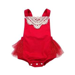 🌟INSTOCK🌟 Birthday Party Red with Lace Accents Frock Tulle Dress Romper Kids Baby Onesie for girls