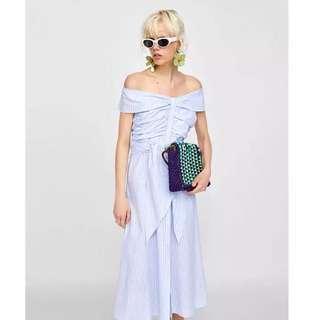 Europe and the United States Macaron color pinstripe print ruffled fold waist dress