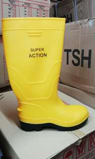 safety yellow rain boot / rubber shoe (with steel toe & steel cap)