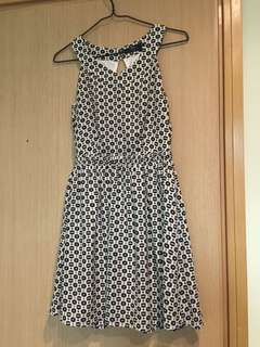 Black and white flora one piece dress