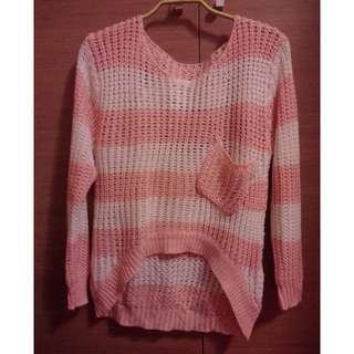 🚚 粉紅白條紋口袋前短後長針織衣