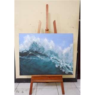 Easel kayu / sandaran kanvas untuk melukis tiga kaki