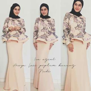 🌹AISYA LACE PEPLUM KURUNG🌹  🎈MATERIAL: LACE WITH FULLY LINING + SKIRT MOSS CREPE  🎈HIDDEN ZIP AT BACK SIDE 🎈HIDDEN ZIP AT SLEEVES 🎈SKIRT ELASTIC WAIST 🎈ACCESSORY LACE PATCH AT SLEEVES  Available in 3 sizes : S,M,L/XL