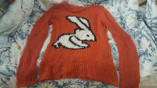 Orange Bunny Sweater