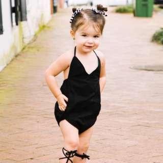 🌟INSTOCK🌟 Black V Neck Halter Neck Onesie Kids Baby Romper for girls