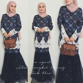 🌹Zalia Songket Kurung🌹  🎈Material:printed moss crepe 🎈Accesories lace at top and net at skirt  🎈Hidden zip at the back,sleeves and side(top)  Available in 4 sizes : S,M,L,XL