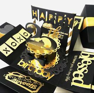 Happy 25th Birthday Gold And Black Explosion Box Card