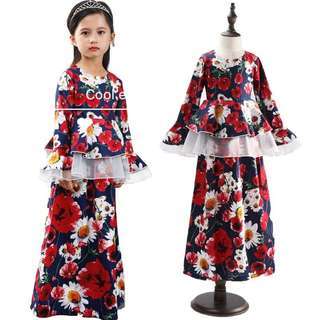 Peplum jubah kids dress 1y to 6y