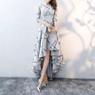 Grey stripe design high low dress / evening dress