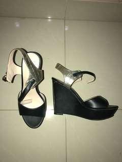 Black Gold Pump Heels Wedges
