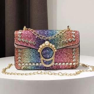 Mahkota Glitter Sling Bag
